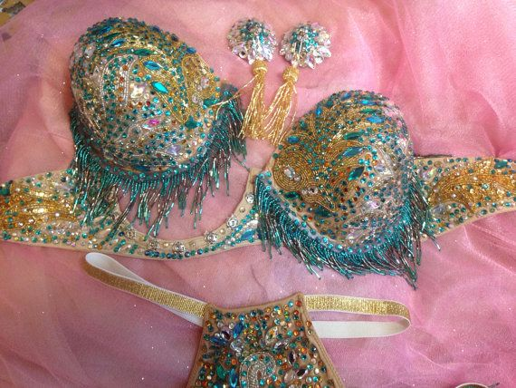 Burlesque tear away cups bra and panty set by GloriousPasties, $645.00