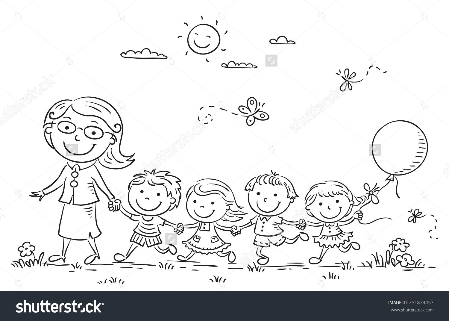 Kids And Their Teacher On A Walk In The Kindergarten Black And White Outline