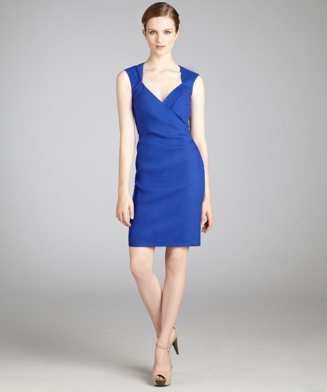 Nicole Miller blue stretch linen sleeveless v-neck dress   BLUEFLY up to 70% off designer brands