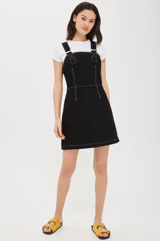 9521a1640aa0 MOTO Contrast Stitch Denim Pinafore Dress | Clothing To Buy | Denim ...