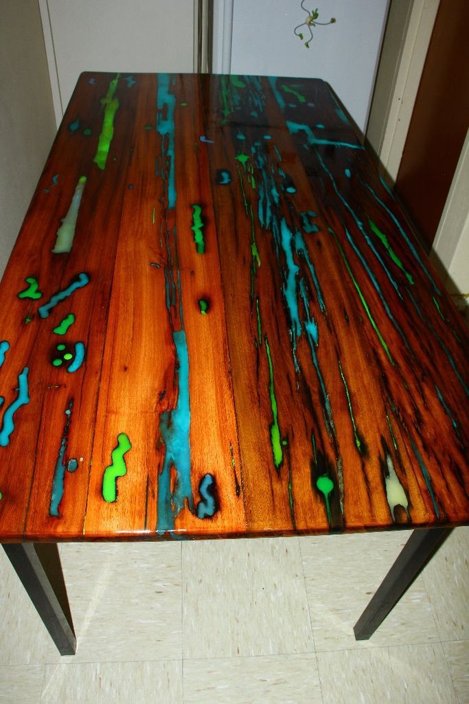 Glow table woods resin and woodworking - Glow in the dark resin table ...