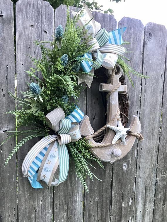 Photo of Items similar to beach wreath front door, sea wreath, coastal wreath, starfish wreath, beach decor, summer wreath, shell wreath, anchor decor on Etsy