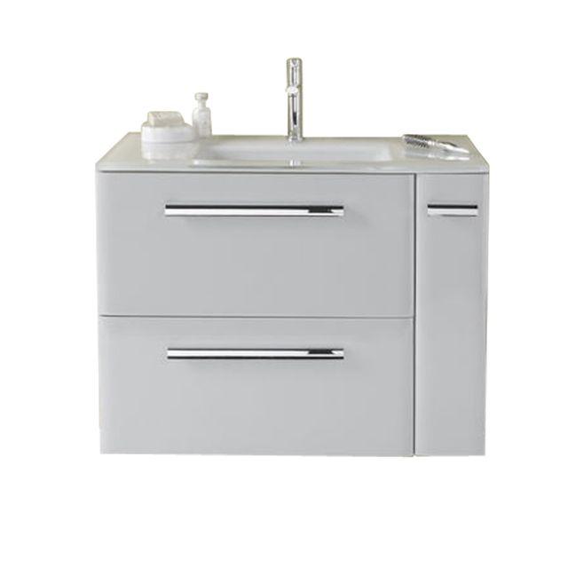 Meuble de salle de bains gris clair 80 cm Meltem - CASTORAMA | Sdb ...