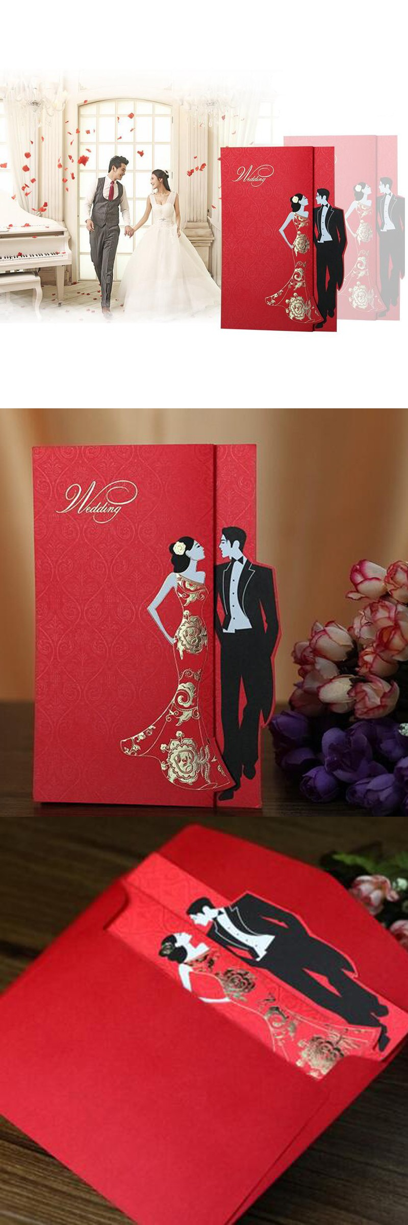 50 pieces/lot)Chinese Style Groom and Bride Engagement Invitation ...