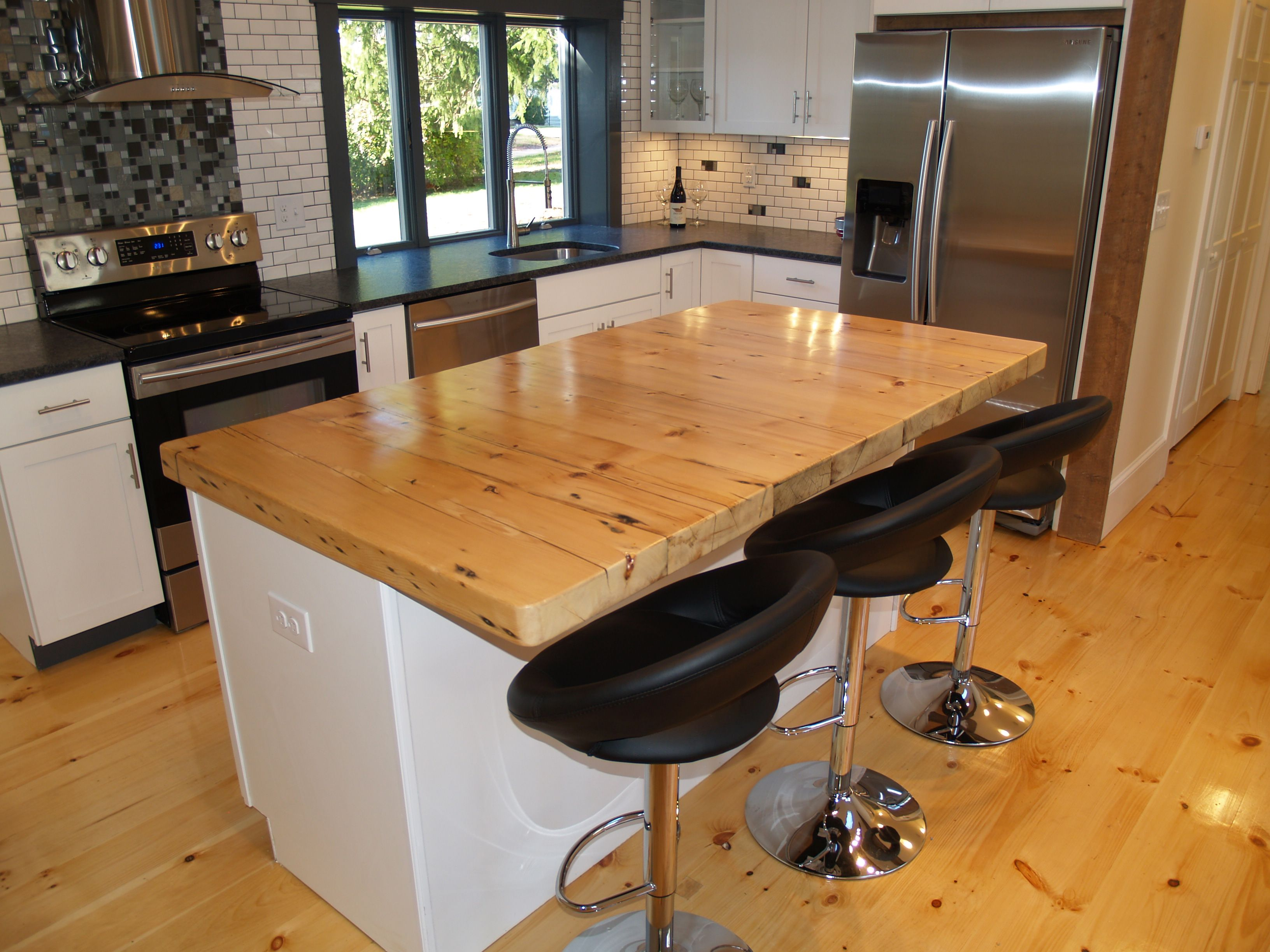 counter top made from reclaimed floor joists   Contemporary ...