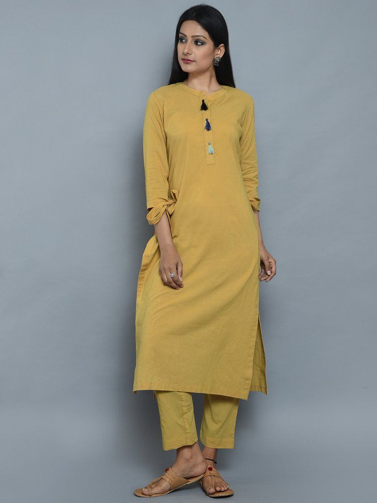 Mustard Cotton Kurta with Multicolor Thread Tassels