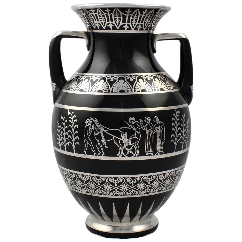 Rare rockwell art deco period greek revival silver overlay black rare rockwell art deco period greek revival silver overlay black glass vase reviewsmspy