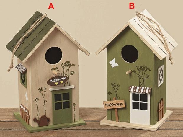 vogelhaus vogelh uschen nistkasten holz deko braun gr n. Black Bedroom Furniture Sets. Home Design Ideas