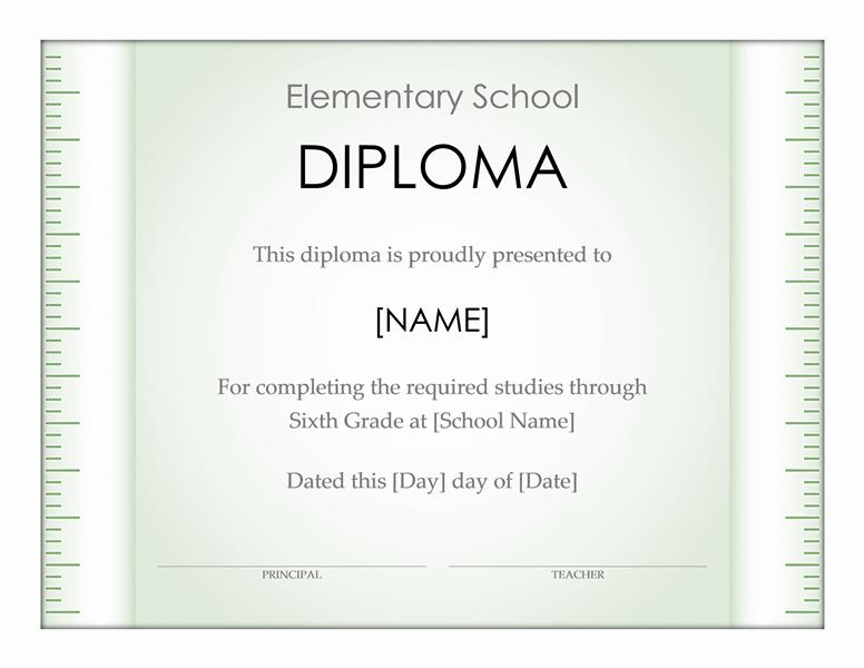 Elementary school diploma certificate (Ruler design