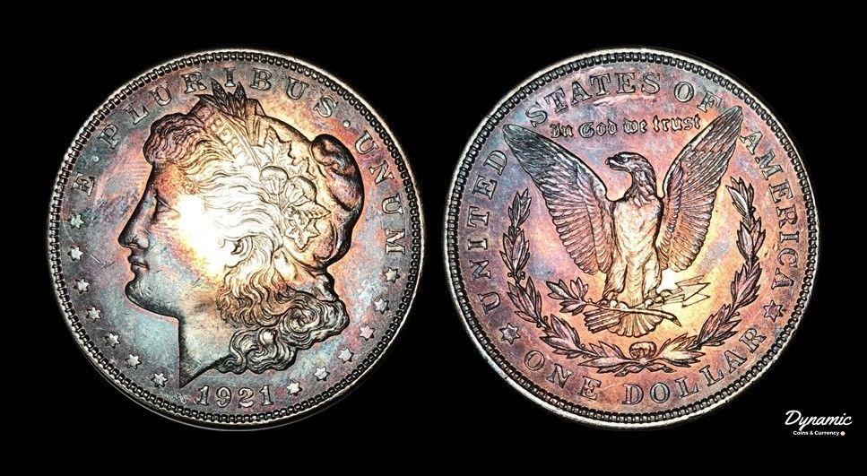 1921 Morgan Silver Dollar BU MS Unique Rainbow Color Toned