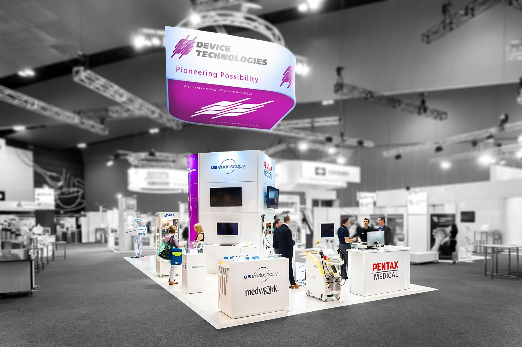 Exhibition Stand Technology : Device technologies exhibition stand designed and
