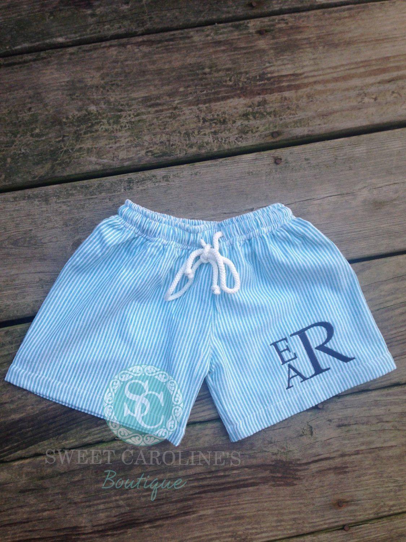 Boys seersucker swimming trunks, Monogram Swim Trunks, Blue Seersucker, Green Seersucker, by SweetCarolinesBtq on Etsy https://www.etsy.com/listing/226569973/boys-seersucker-swimming-trunks-monogram