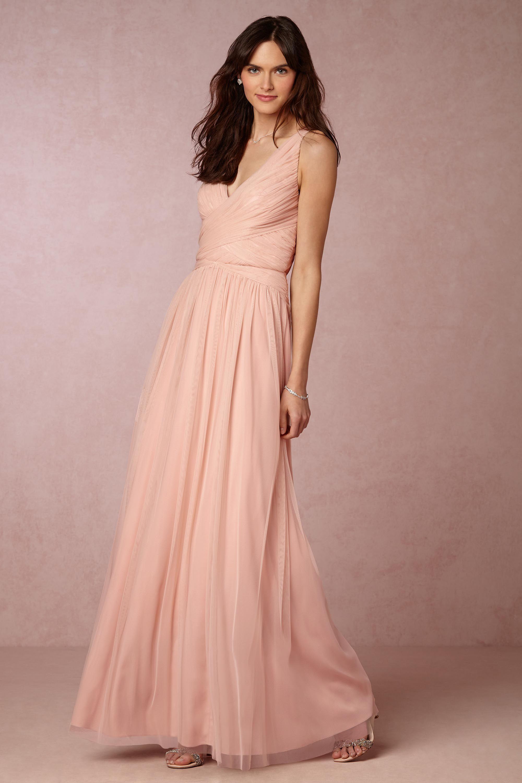 Romantic long length bridesmaid dress in chiffon shown in light