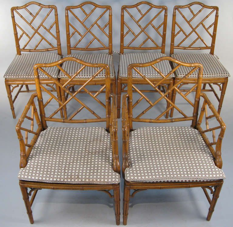 Set Of Six Vintage Faux Bamboo Dining Chairs In 2019