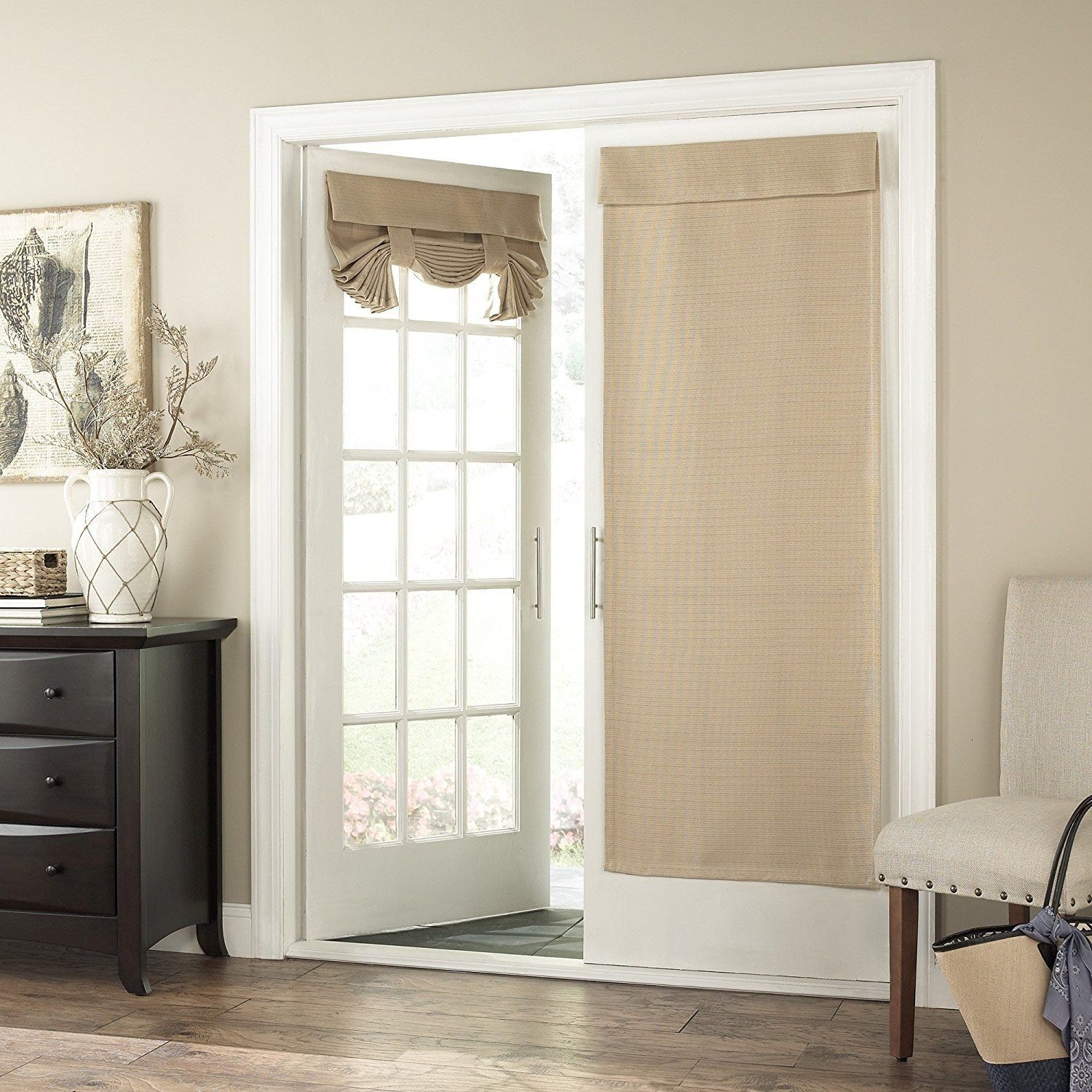 68 Inch Wheat Solid Color Blackout French Door Curtain Single