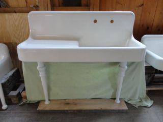 Antique Cast Iron Farm Farmhouse Drainboard Kitchen Sink Legs Vintage
