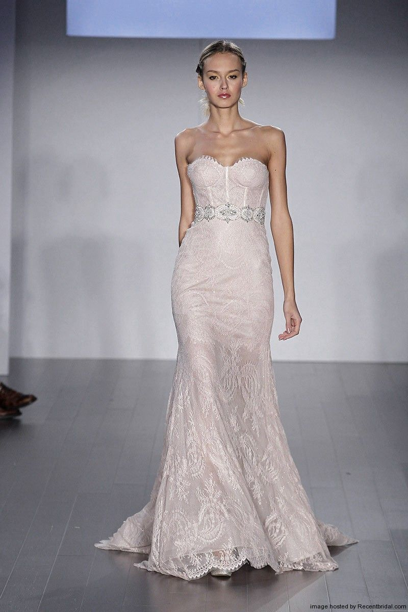 Lazaro Fall 2017 Blush Lace Corset Mermaid Wedding Dress