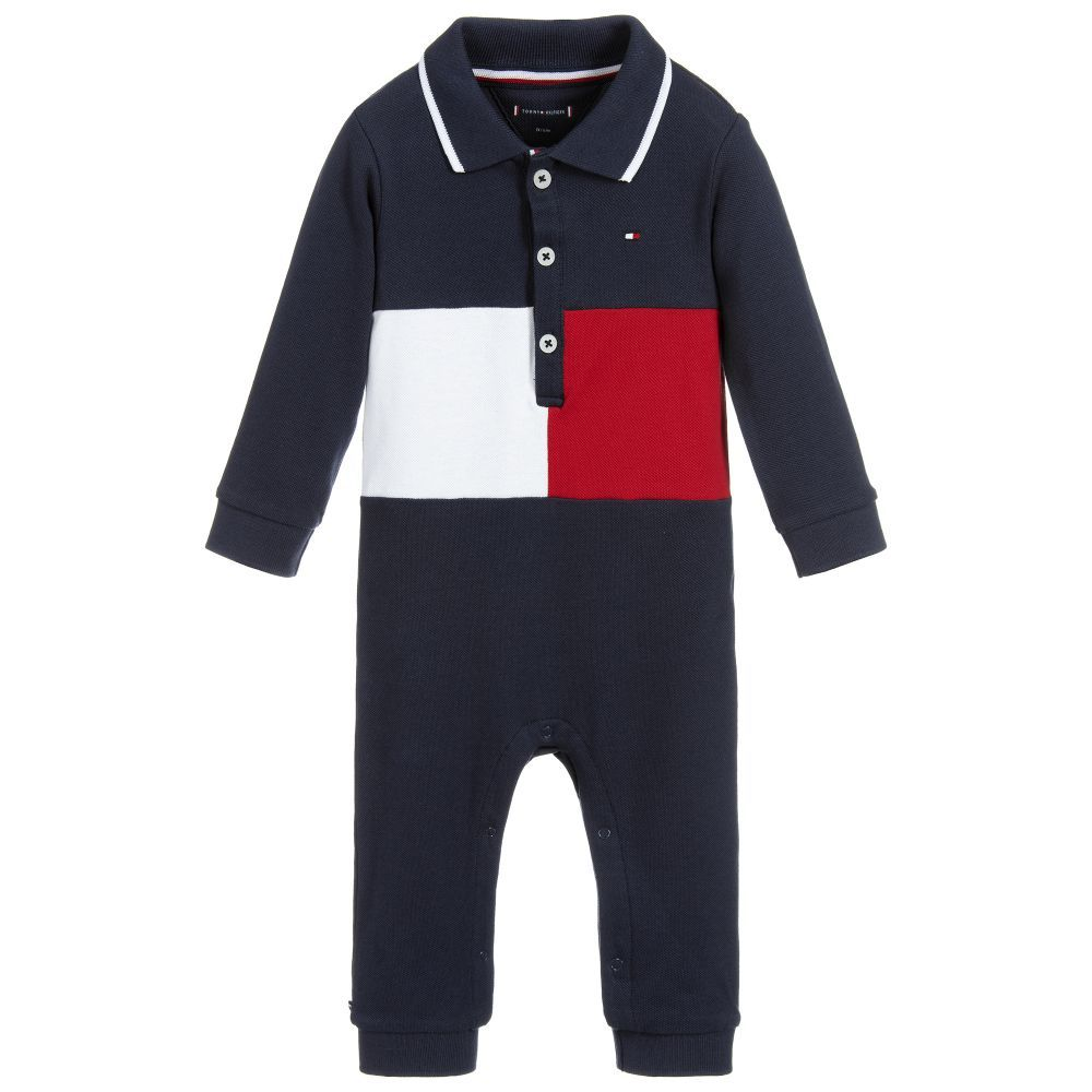 4f29a00a Baby boys navy blue babygrow by Tommy Hilfiger with the designer's red and  white flag logo