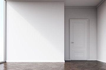 Empty Room With White Walls And Dark Wood Floor Sala Vazia