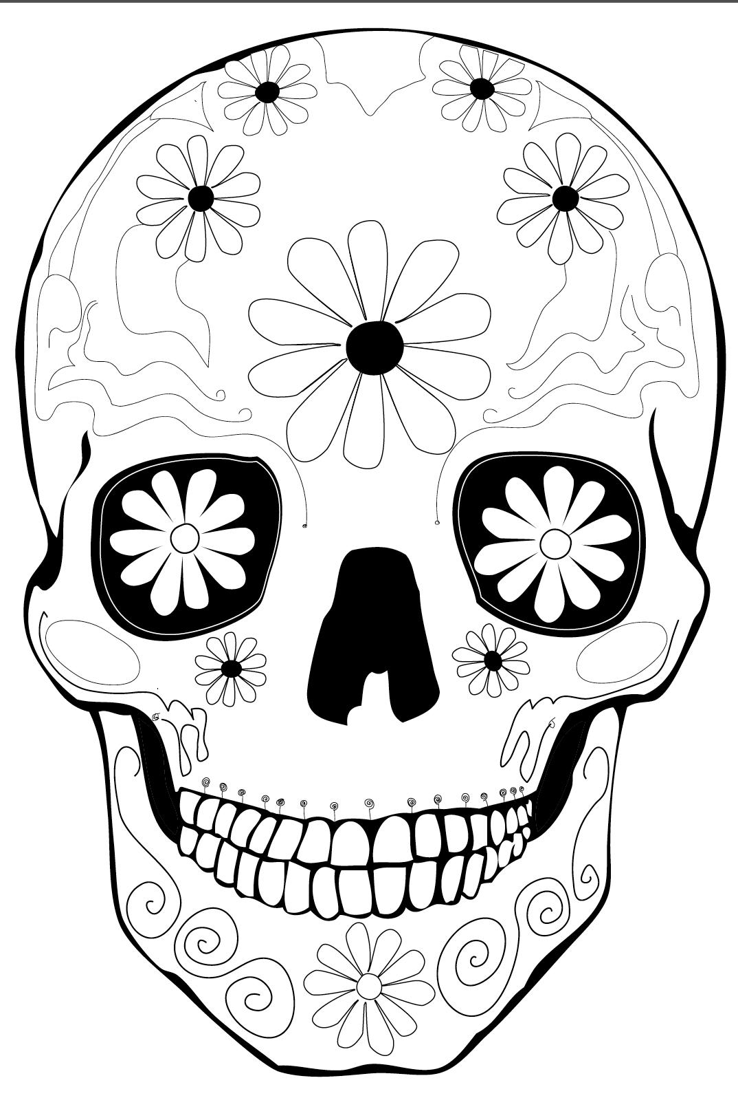 Hermosa Día Del Muerto Cráneo Para Colorear Páginas Imprimibles ...