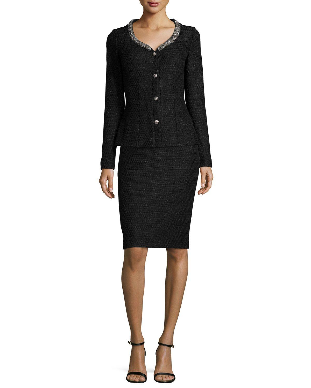 Shimmer Lattice-Knit Jacket & Pencil Skirt