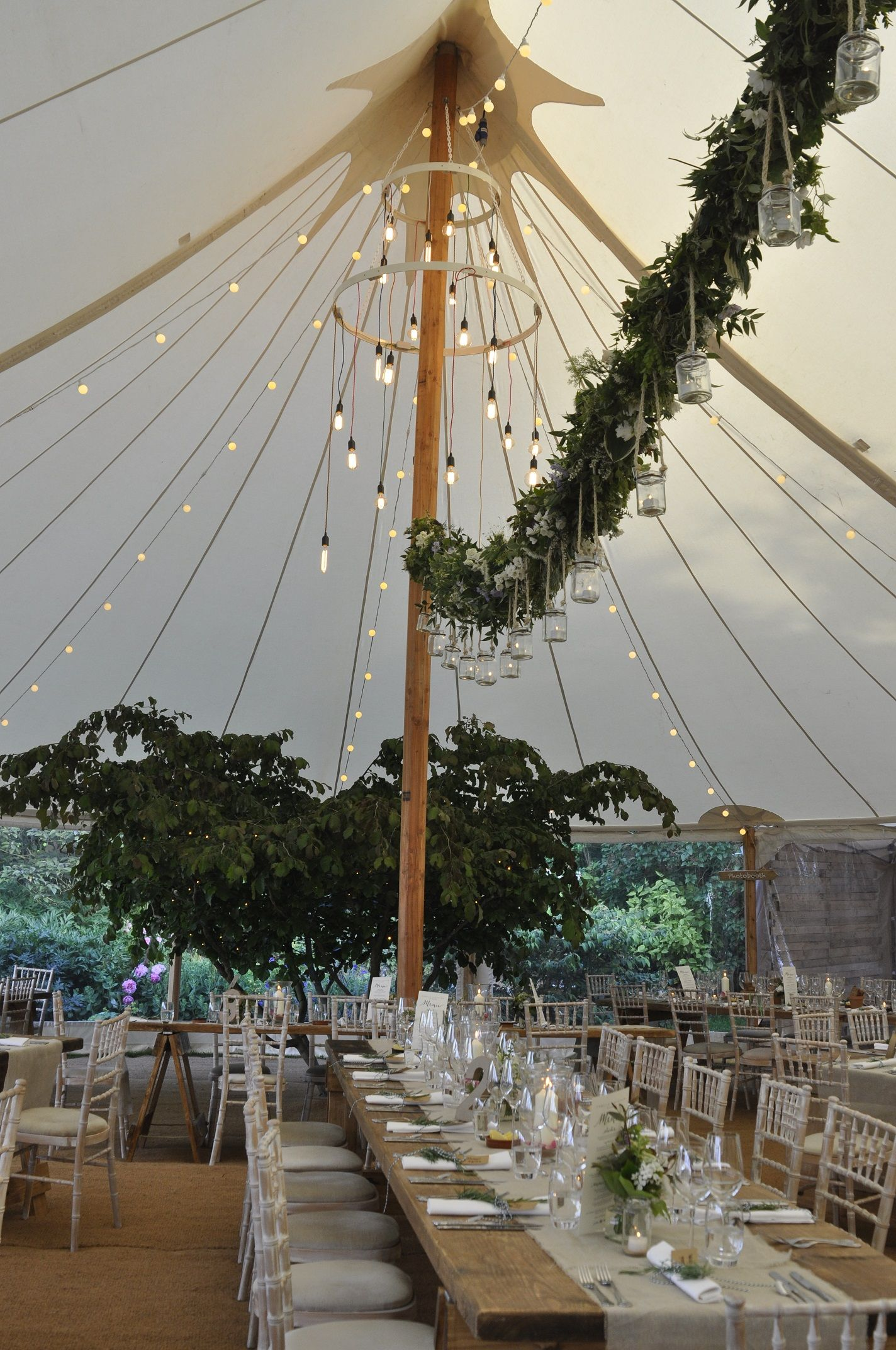 Stunning Interior In A Canvas Wooden Pole Marquee Tent Wedding
