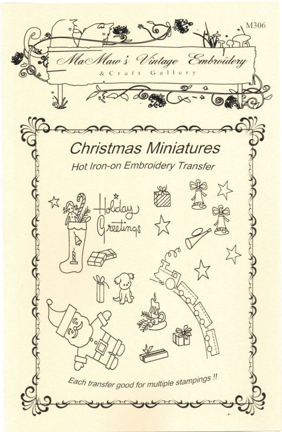 MaMaws Vintage Embroidery hot iron transfers #M306 - Christmas ...