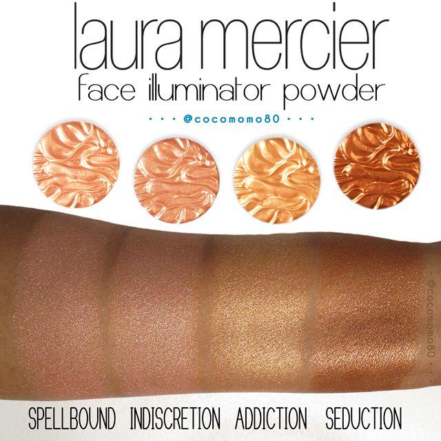 Laura Mercier Candleglow Powder Swatches: Laura Mercier Face Illuminator Powder Swatches (on Dark