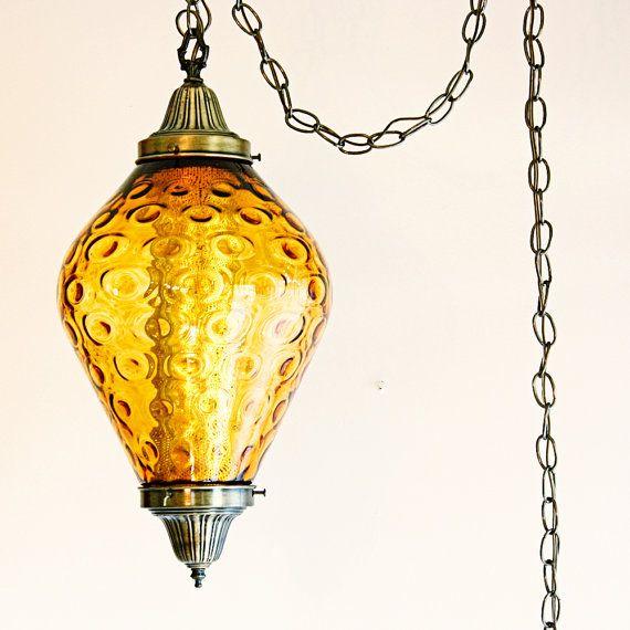 Vintage hanging light - hanging lamp - swag lamp - amber/orange