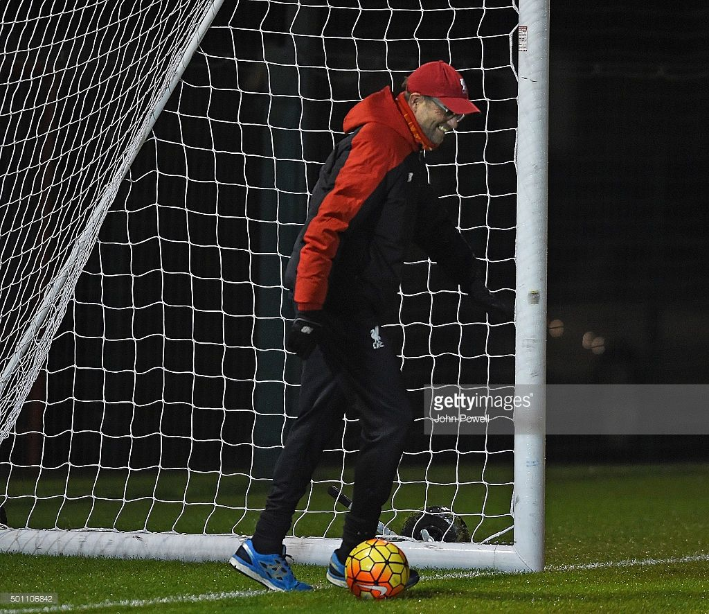 Manager of Liverpool Jurgen Klopp during a training session at Melwood Training Ground on December 12, 2015 in Liverpool, England.
