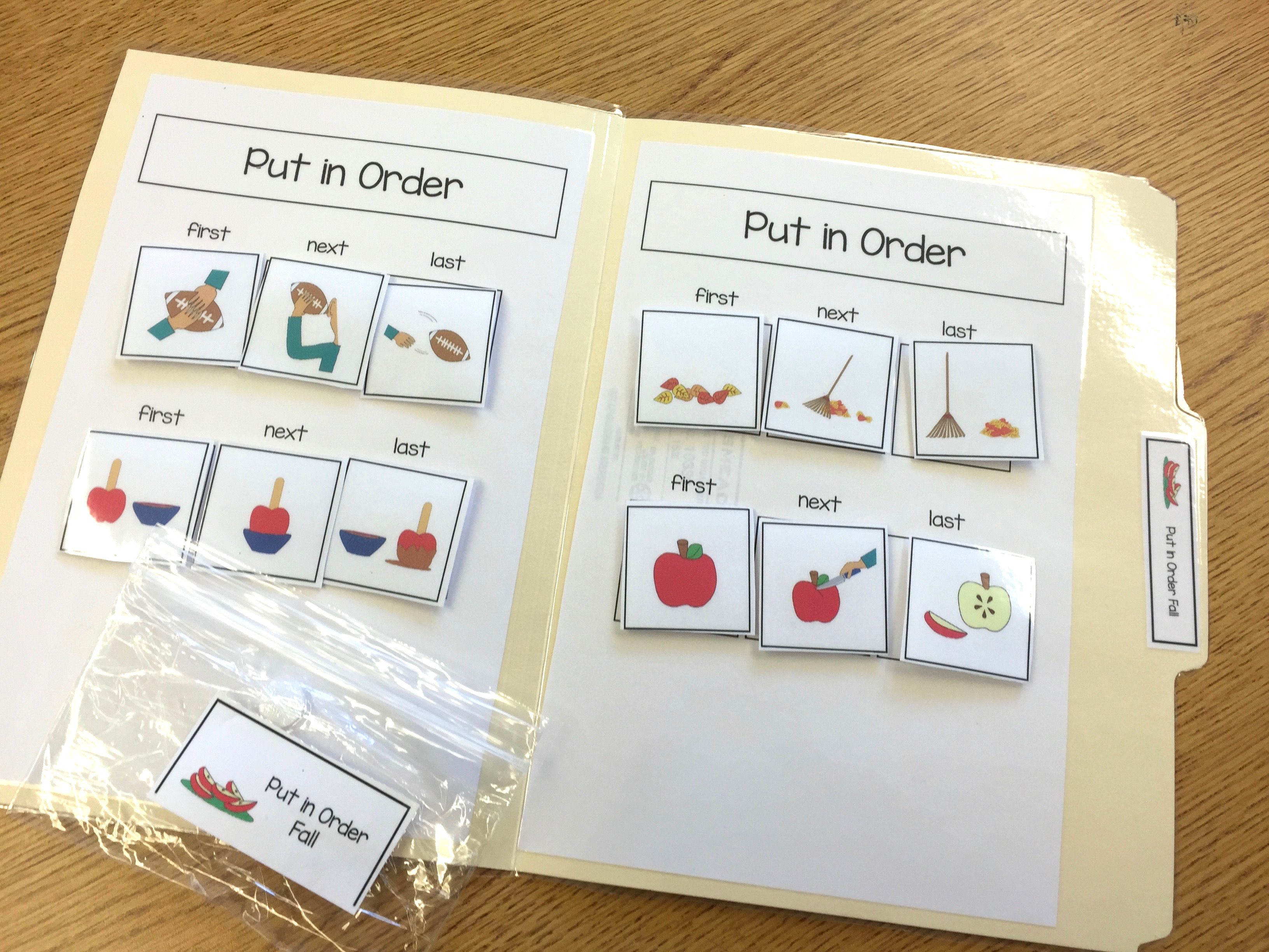 Fall Sequencing File Folder Activities