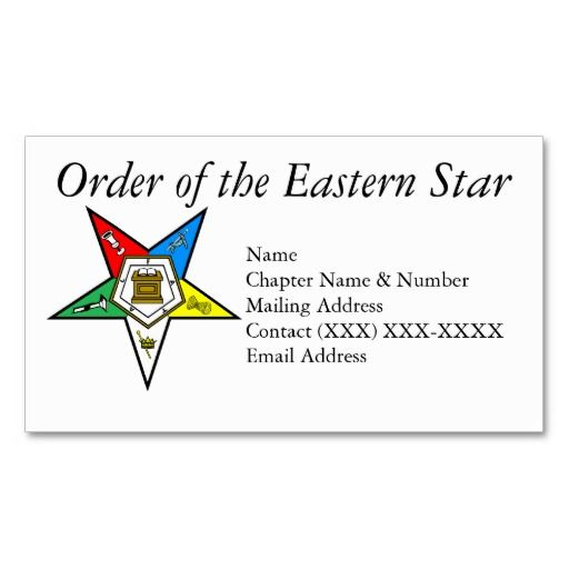 Order of the eastern star business card templates order of the order of the eastern star business card templates reheart Image collections