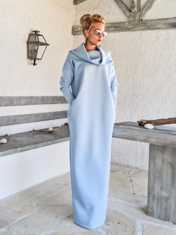 4969cef8254 Scuba Neoprene Maxi Dress Kaftan with Pockets   Baby Blue Scuba Kaftan   Plus  Size Dress   Oversize Loose Dress    35192