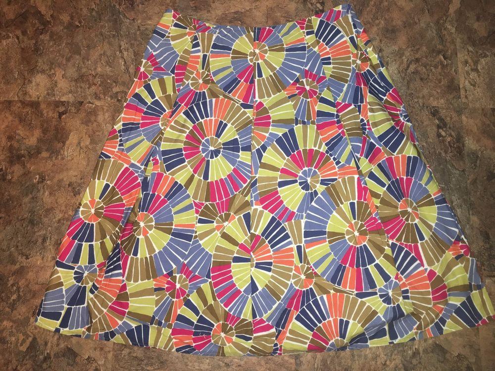 Talbots Size 6 Pleated Full Lined Pink Orange Blue Chartreuse Geometric Skirt #Talbots #Pleated