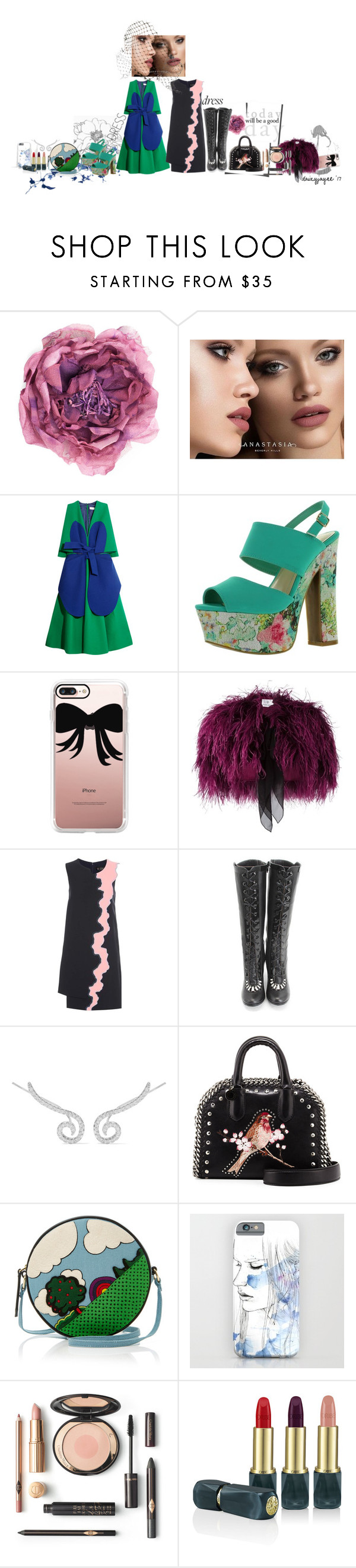 """""""two tone dresses"""" by daizyjayne ❤ liked on Polyvore featuring Gucci, Anastasia Beverly Hills, Delpozo, Casetify, Daizy Shely, Versace, John Fluevog, Kenneth Jay Lane, STELLA McCARTNEY and Olympia Le-Tan"""