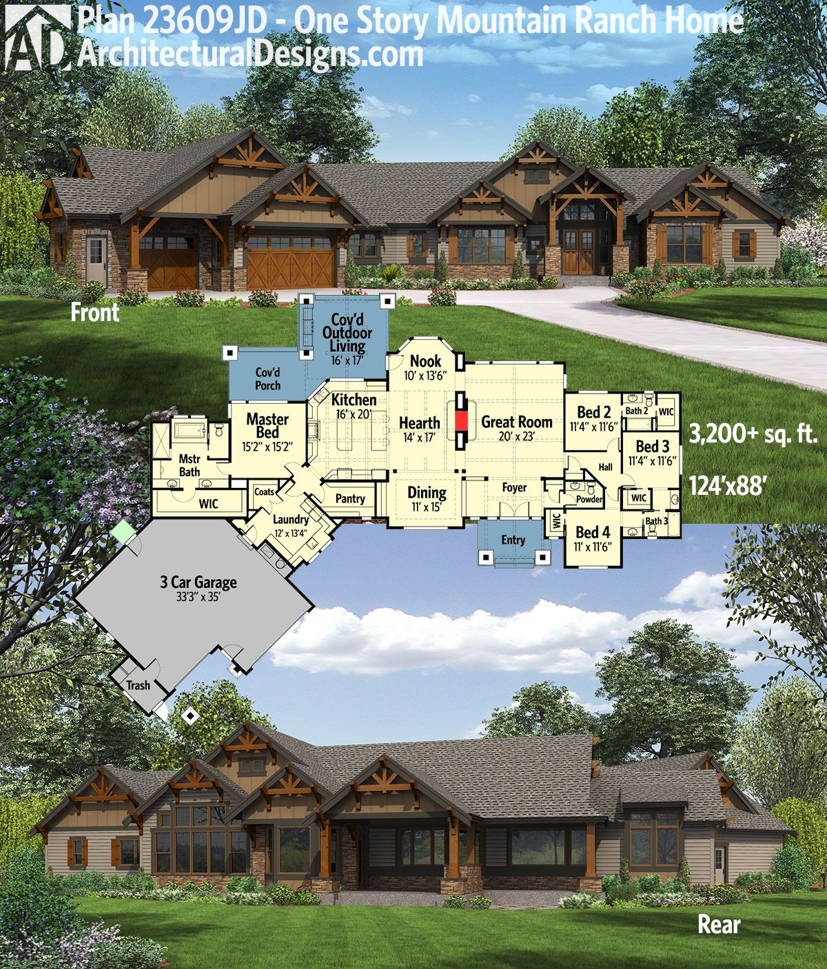 Architectural Designs One Story Mountain Ranch Home Plan 23609JD Gives You Over 3200 Square Feet Of Living And Great Covered Outdoor Spaces In Back