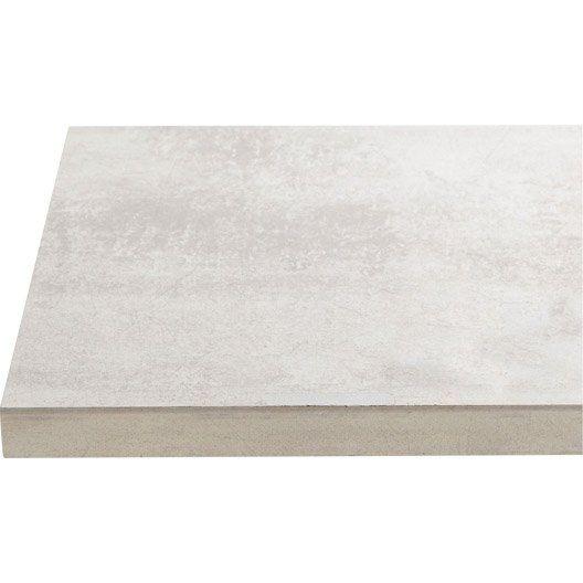Plan de travail droit stratifié béton blanc, 246 x 635 cm, ép 28
