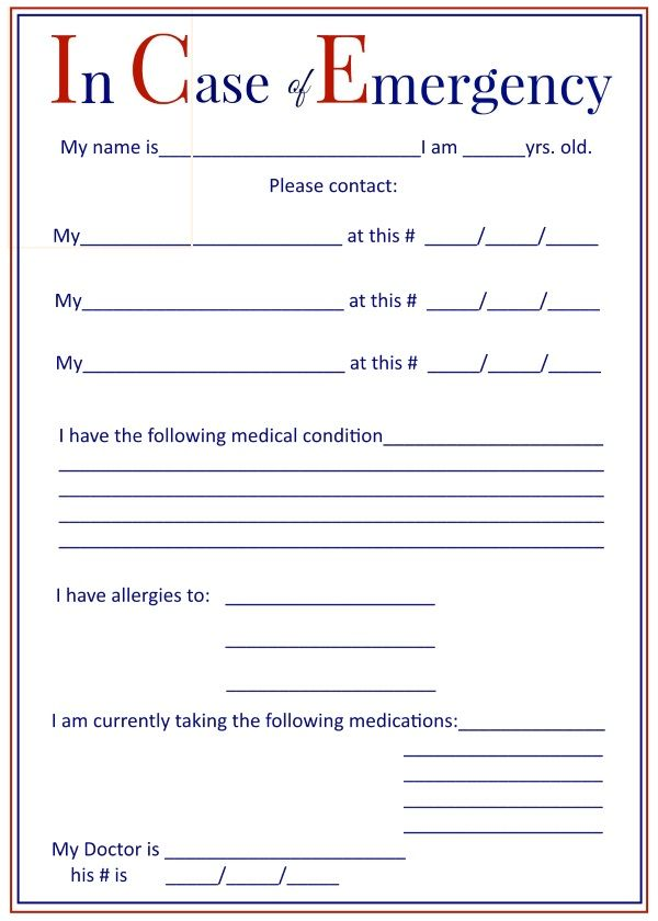 I c e in case of emergency forms keep in your car and for Emergency contact form template for child