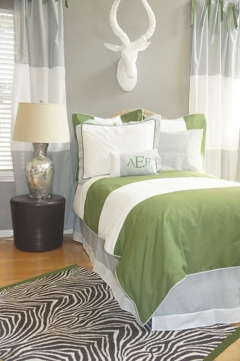 Olive Gray And White Bold Striped Bedding For Boys