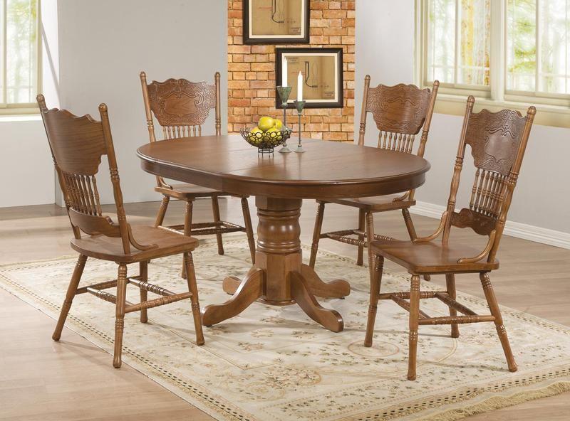 5 Pc Country Oak Wood Dining Room Set Pedestal Base 18 Leaf 104261