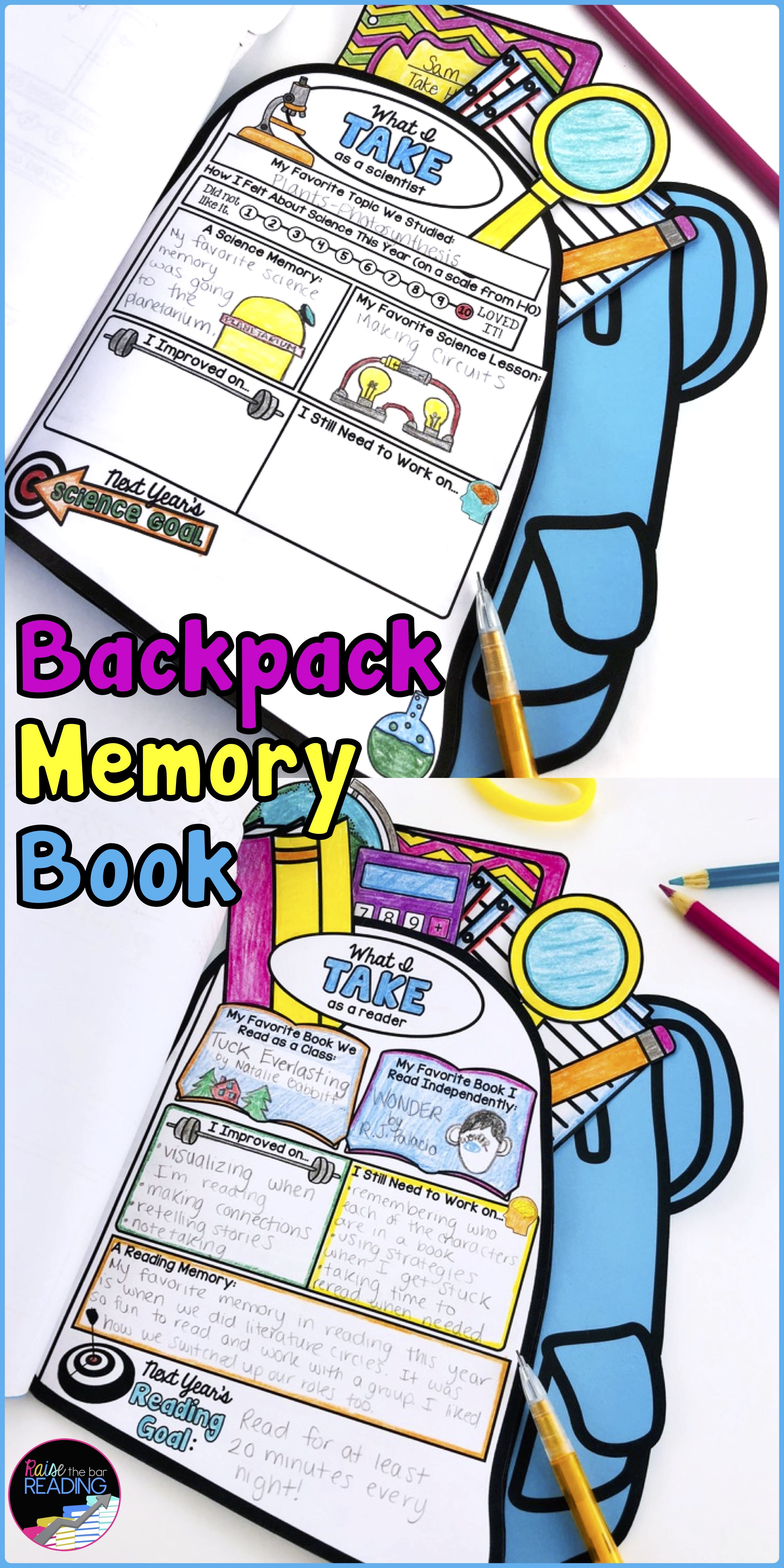 End Of Year Backpack Book End Of Year Reflection End Of