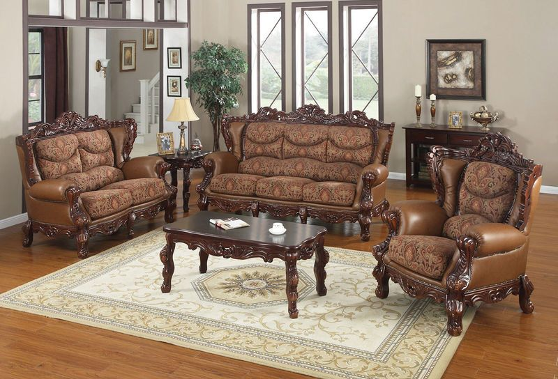 Traditional Living Room Furniture Formal Brown Ornate Fabric Leather Sofa Loveseat