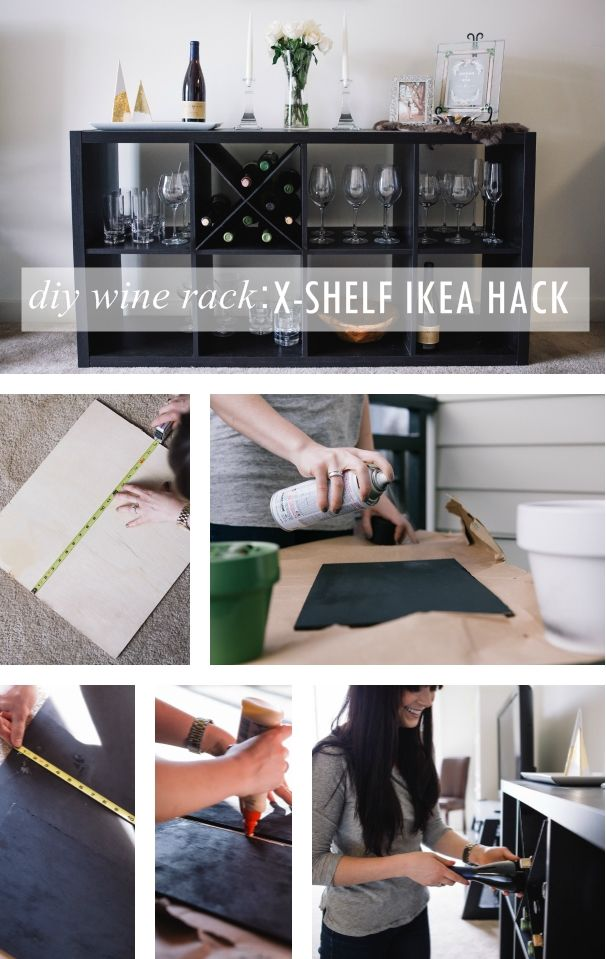 Diy wine rack an x shelf ikea hack ikea hack and collage for Ikea wine bar