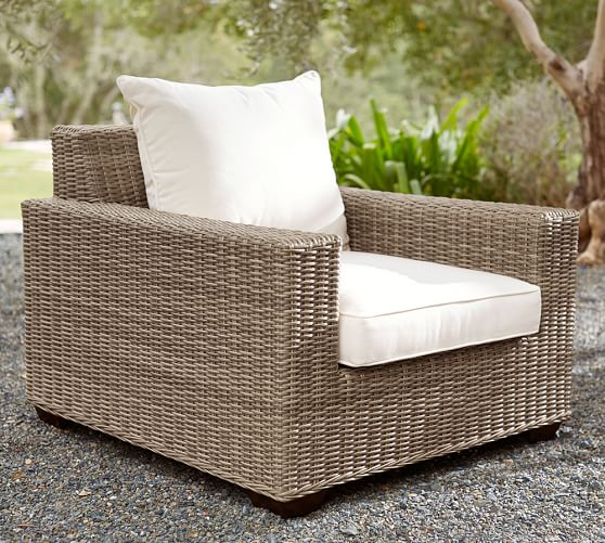 Torrey All Weather Wicker Square Arm Lounge Chair Natural