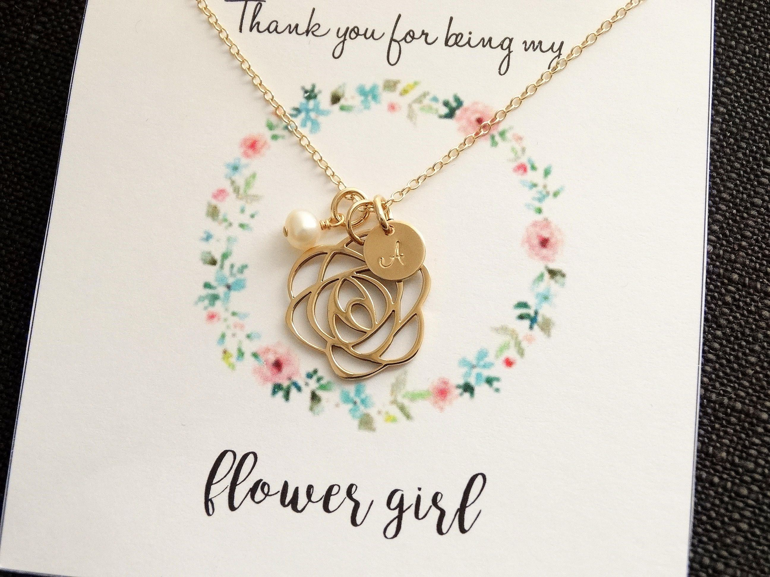 Flower Girl Gift Flower Girl Necklace With Message Card Favors