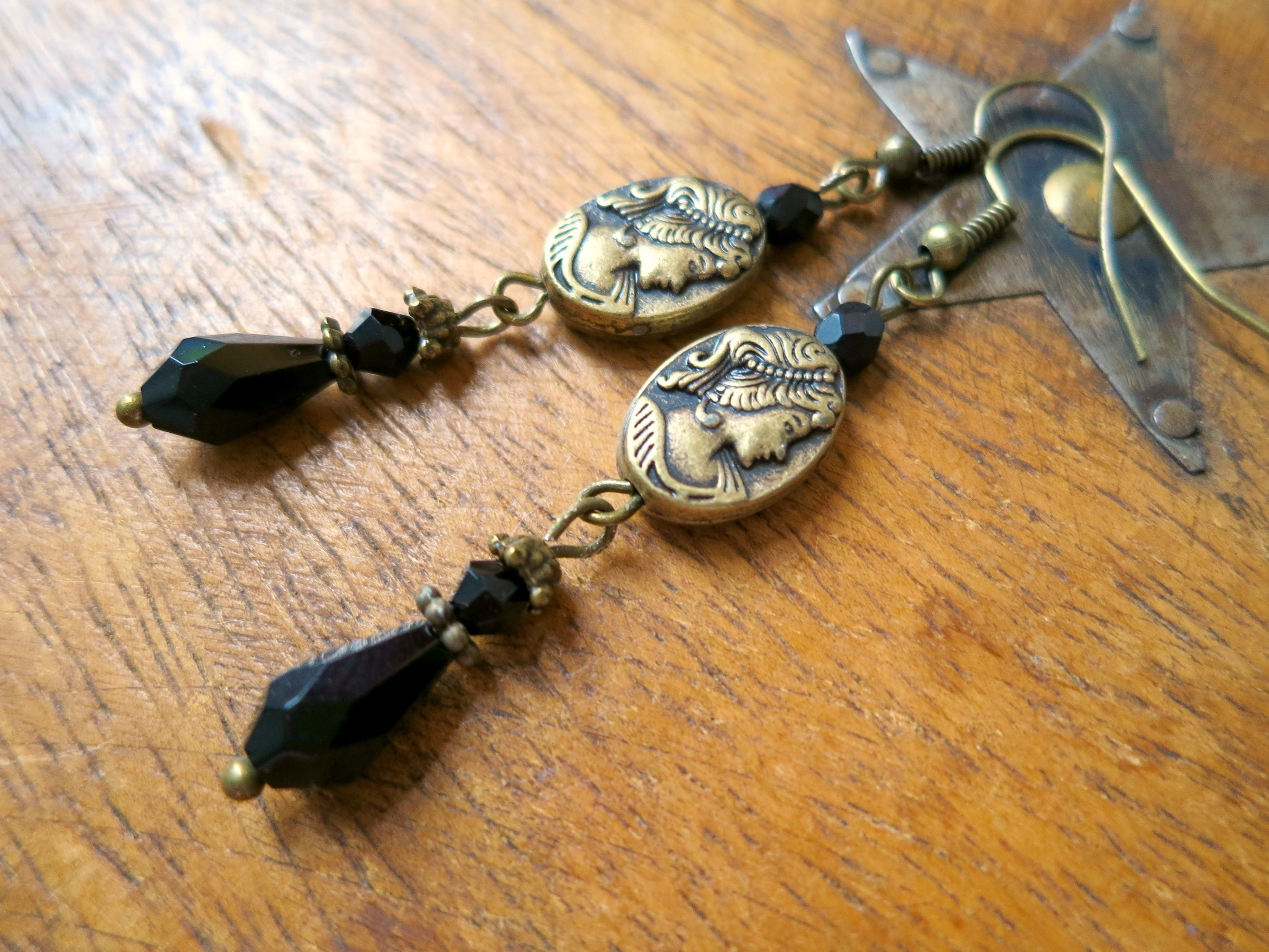 090d42a9a Victorian Revival Beaded Earrings French Jet Black Glass Beads Bas Relief  Grecian Goddess Cameo Style Metal Charms Antiqued Jewelry
