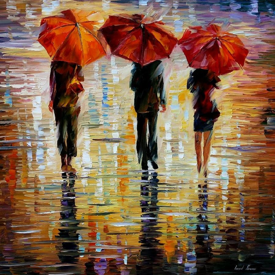 Three Red Umbrella Painting - Leonid Afremov I really love his bright free palette knife style! Look at some of his other paintings, too.