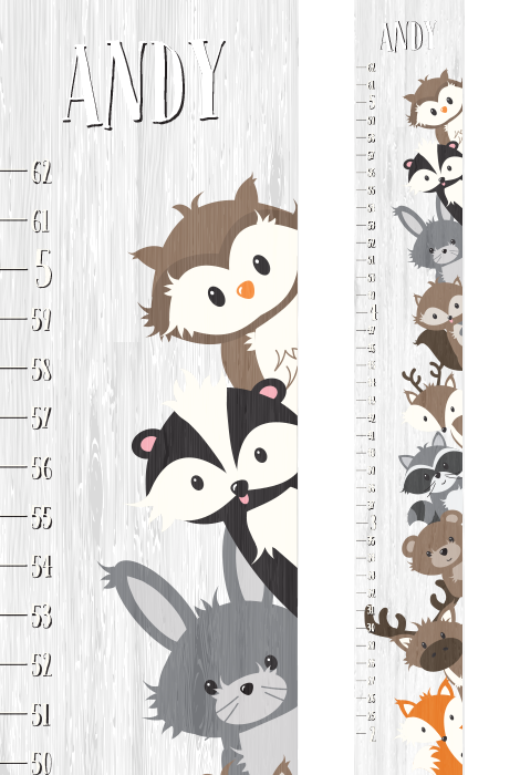Create A Treasured Keepsake For Your Child With Customized Canvas Woodland Creatures Growth Chart