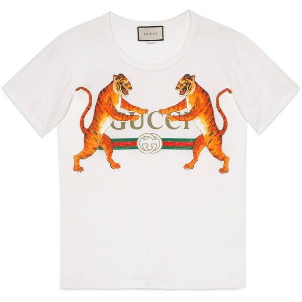 04df48ddf Gucci Gucci Logo With Tigers T-Shirt ($485) ❤ liked on Polyvore featuring  tops, t-shirts, ready-to-wear, sweatshirts & t-shirts, women, logo t shirts,  ...
