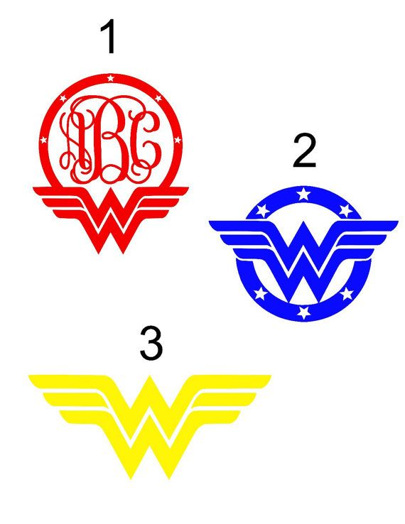Wonder Woman Vinyl Decals With Or Without Monogram Wonder Woman